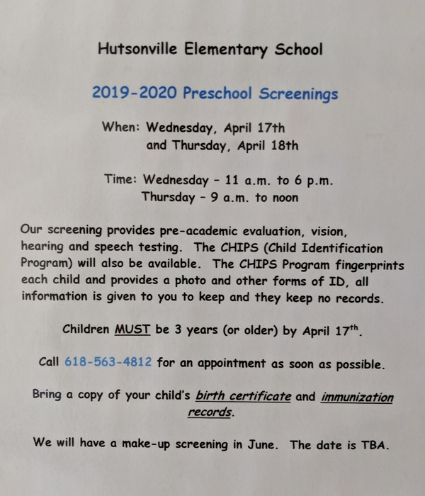 PreK Screenings 2019