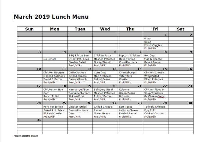 Mar 2019 Lunch