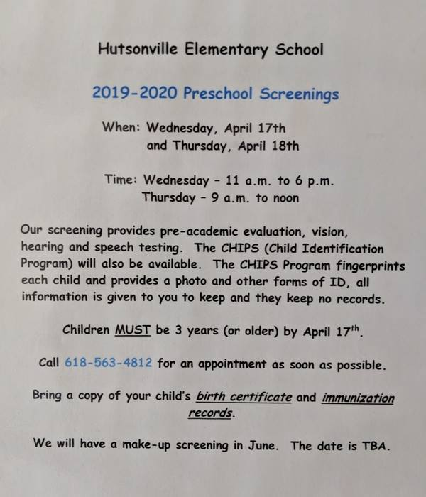 PreK Screening 2019